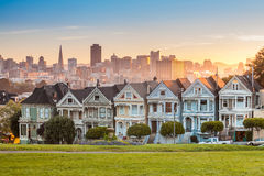 Famous view of San Francisco at Alamo Square Royalty Free Stock Image