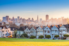 Famous view of San Francisco at Alamo Square Royalty Free Stock Photo