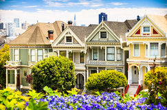 Famous view in San Francisco. Famous Painted ladies in Alamo Square, San Francisco Stock Image