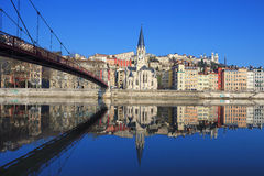 Famous view of Saone river and footbridge in Lyon city Stock Photo