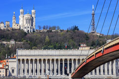 Famous view of Saone river and footbridge at Lyon Royalty Free Stock Image