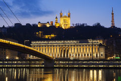 Famous view of Saone river at Lyon by night Stock Image