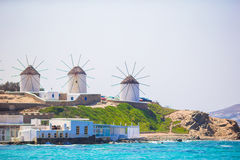 Famous view of traditional greek windmills on Mykonos island at sunrise, Cyclades, Greece Stock Photography