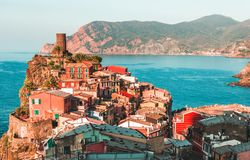Famous view of the Vernazza old town Italy Cinque terre in the early morning sunrise view, colorful traditional building houses an royalty free stock images
