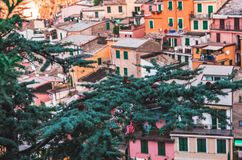 Famous view of the Vernazza old town Italy Cinque terre in the early morning sunrise view, colorful traditional building houses an. Colorful architecture of stock photos