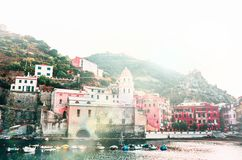 Famous view of the Vernazza old town Italy Cinque terre in the early morning sunrise view, colorful traditional building houses an royalty free stock photos
