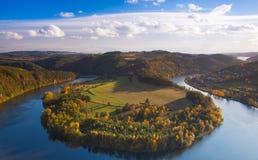 Famous view on Vltava river,  Czech Republic Stock Images