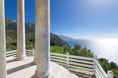 Famous viewpoint from Son Marroig over the blue Mediterranean sea. Stock Photos