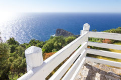 Famous viewpoint of Son Marroig over the blue Mediterranean sea. Royalty Free Stock Photography