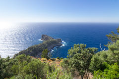 Famous viewpoint of Son Marroig over the blue Mediterranean sea. Stock Photos