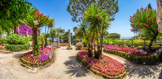 Famous Villa Rufolo gardens in Ravello at Amalfi Coast, Italy Royalty Free Stock Photography