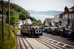 LLandudno, Wales, North Shore Beach, UK-MAY 27, 2018 Great Orme tram Mountain Traditional tramway makes its way across mountain pu. Famous vintage Great Orme Stock Photos