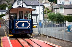 LLandudno, Wales, North Beach, UK - MAY 27, 2018 Great Orme tram Mountain Traditional tramway makes its way across mountain public. Famous vintage Great Orme Stock Image
