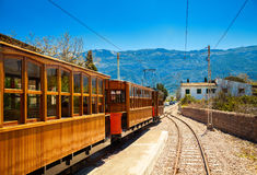 Famous vintage old train in Soller Stock Image