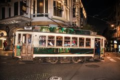 Famous vintage tram of of Alfama, in the oldest district of the Old Town, at night, Lisbon, Portugal royalty free stock images
