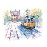 Famous vintage tram in Milan, Lombardia, Italy stock illustration
