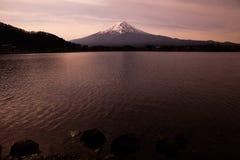 Mountain Fuji in Japan over sunset sky. stock photos