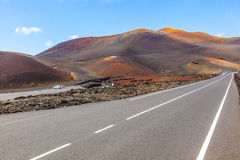 Famous volcanoes of  Timanfaya National Park Royalty Free Stock Image