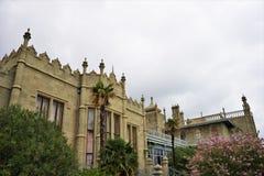 Famous Vorontsov Palace. Courtyard. Crimea. Cloudy summer day. Exterior famous Vorontsov Palace. Courtyard. Crimea. Cloudy summer day stock photos