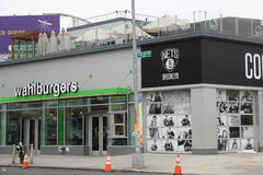 Famous Wahlburgers restaurant at Coney Island in Brooklyn. Royalty Free Stock Photo