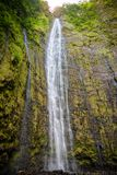 Waimoku Falls, waterfall of the Pipiwai Trail, Maui, Hawaii. Famous Waimoku Falls waterfall at the head of the Pipiwai Trail above Seven Sacred Pools on the Road royalty free stock photos