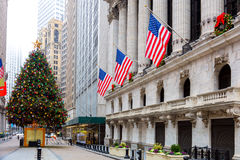 Famous Wall Street in New York City, NYC, USA. Famous Wall Street in New York City, Christmas time and decoration, NYC, USA Royalty Free Stock Image