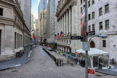 Famous Wall street and the New York Stock Exchange in New York, NY Stock Image