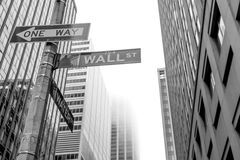 Famous Wall Street sign in the street of Manhattan, NYC Royalty Free Stock Photo