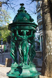 Famous Wallace public drinking fountain (1872) in Paris, France Royalty Free Stock Images