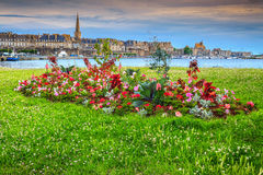 Famous walled city of Saint Malo with luxury harbor, France Stock Image