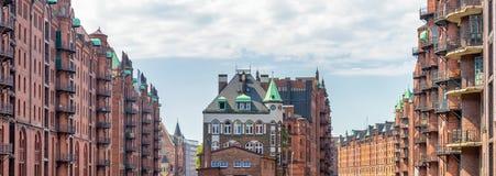 Famous water castle in Speicherstadt, Hamburg, Germany Stock Photos