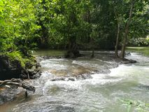 Famous waterfall in Krabi provincial town, Thailand. royalty free stock image