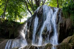 Famous Waterfall in Lucky Spa Village, Slovakia royalty free stock photo