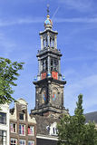Famous Western Tower in Amsterdam, Netherlands Royalty Free Stock Photography