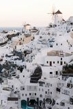 Famous white buildings of Oia town in Santorini. View of famous white buildings of Oia town on cliff in Santorini, Greece Royalty Free Stock Photo