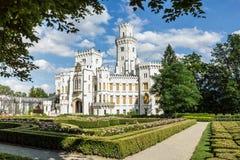 Famous white castle Hluboka nad Vltavou Stock Images