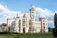 Famous white castle Hluboka nad Vltavou Stock Photo