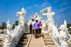 Famous white church in Wat Rong Khun Stock Photo