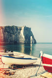The famous white cliffs of Etretat Stock Images