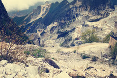 Famous white marble quarries near Carrara, Italy. Royalty Free Stock Image