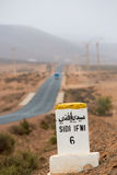 Famous white and yellow road sign, Morocco Stock Photo