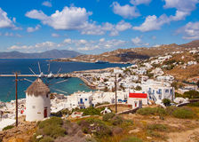 The famous windmill above the town of Mykonos in Greece against Royalty Free Stock Photography