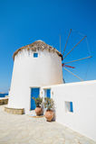 Famous windmill landmark, Mykonos, Greece. Royalty Free Stock Images