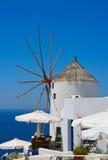 Famous windmill in Oia, Santorini Stock Photo