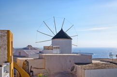 Famous windmill in Oia town, Santorini, Greece Royalty Free Stock Image