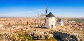 Famous windmills of Consuegra, Castile-La Mancha, Spain.  Stock Photo