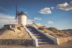 Famous windmills in Consuegra at sunset, province of Toledo, Cas Royalty Free Stock Image