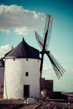 Famous windmills in Consuegra at sunset, province of Toledo, Cas Stock Photos