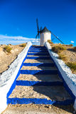 Famous windmills in Consuegra at sunset, province of Toledo, Cas Royalty Free Stock Images