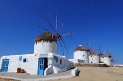 Famous windmills of Mykonos island , cyclades Stock Photography